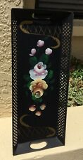 VINTAGE 50's HAND PAINTED ARTICULATED NARROW CHIPPENDALE TOLE TRAY / BRILLIANT