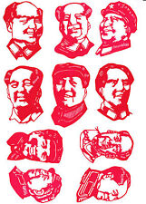 Chinese Paper Cuts Chairman Mao Tze Dong Set 10 small Purplish Red pieces