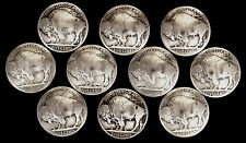 "10 Buffalo Nickel Concho Buttons - 3/16"" Chicago Screw Back - B - BIN"
