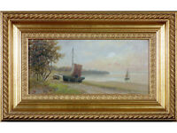 Antique Oil Painting. C19th British School / Coastal Scene. Gallery Provenance.