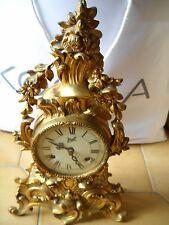 orologio antico da camino / tavolo in bronzo dorato - walt