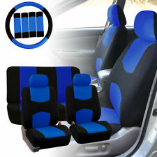 Car Seat Covers for Auto Blue w/ Steering Wheel/Belt Pads/Head Rests