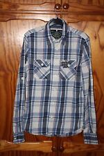 MENS SUPERDRY BLUE WHITE RED CHECK LONG SLEEVE SHIRT SIZE MEDIUM