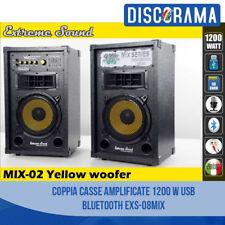 COPPIA CASSE AMPLIFICATE 1200 W USB BLUETOOTH KARAOKE DJ EXTREME SOUND SD MP3