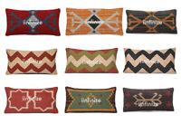"Wool Jute Pillow Cover Kilim Throw Indian Decorative Sham Rectangle Hippy 12x24"""