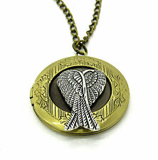 Bronze Angel Wings Locket Pendant Necklace Photo Love Family Gift