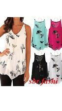 Womens Ladies Chiffon Tiered Layer Cami  Butterfly Vest Top Shirt  SIZE 8-18