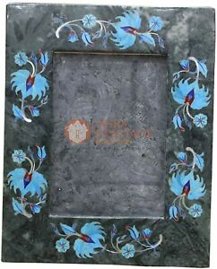 """7""""x5"""" Green Photo Frame Turquoise Gemstone Marquetry Floral Art Christmas Gift"""