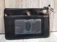 Womens Black Genuine Leather ID Keychain Wallet - B33