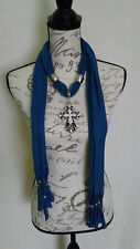 Womens Bling Rhinestone Black Cross Bead Silver Denim Blue Scarf With Jewelry