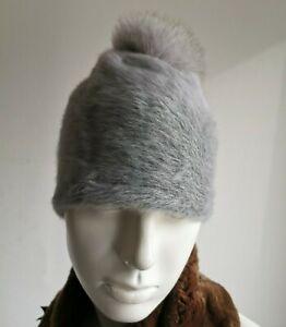 🔷🔷 MAX MARA  Grey ANGORA+FOX FUR  Knit Hat   One size Mod. ''NADA''