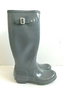 Hunter Women's Original Tall Gloss Waterproof Rain Boots Gray US Size 6 EU 36