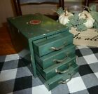 Vintage WARDS Master Quality 4 DRAWER METAL CABINET Parts Chest Tool Box Green