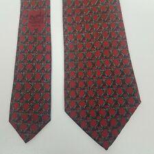 Hermes Tie Red Gray Silk Men's Necktie vtg chain link
