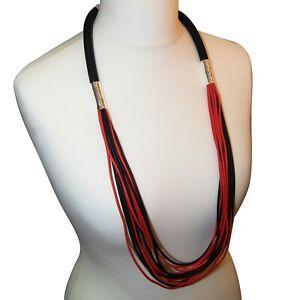 Lagenlook Spaghetti Strands Rubber Necklace Black/Red