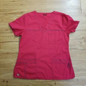 Dickies Women's V-Neck Scrub Top Red Size Large