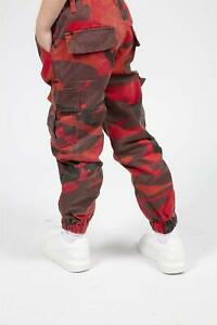 Girls Kids Army Camouflage Cargo Combat Trousers Full Mid Waist Stretch Printed
