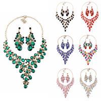 Rhinestone Necklace Crystal Earring Women Bridal Party Prom Wedding Jewelry Set