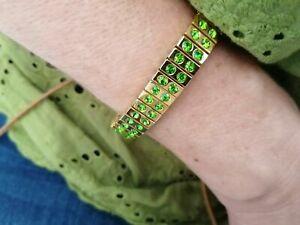 Gold Gem bracelet gift for her Green Bracelet gift for girlfriend Handmade 24k