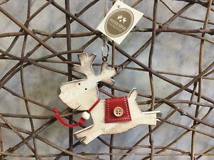 Heaven Sends Christmas cute wooden reindeer hanging tree decoration 12cm