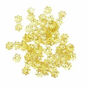 50 Perlkappen 6 mm, Gold Zwischenperlen, Endkappen, Perlen Beads
