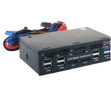 PC Front Panel 5.25'' Dashboard Media USB 3.0 Hub Audio eSATA SATA Card Reader