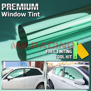 "20""X10FT Uncut Roll Window Mirror Chrome Green Tint Film Car Home Office Glass"