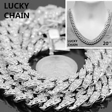 """14K WHITE GOLD FINISH BLING OUT PRONG SET CUBAN LINK CHAIN NECKLACE 20""""12mm 147g"""