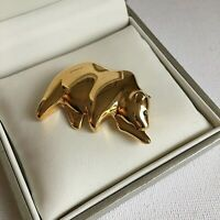 Vintage Bear Brooch Gold Plated Blue Eye Wildlife Nature Gift Costume Jewellery