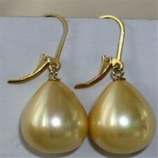 14-18mm Water Drop Yellow shell pearl earrings 18K Dangle chic natural REAL