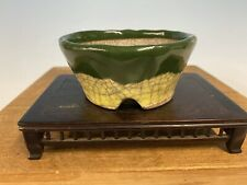 "Shohin Size Bonsai Tree Pot Made By Bunzan 3 7/8"" Green And Yellow Glaze"