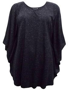 Black marl drape top plus size 18 20 22/24 26/28 v neck cape sleeves 241