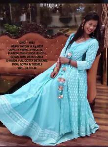 Anarkali Kurta with Jacket Indian Designer Women Dress Ethnic Pakistani Gown