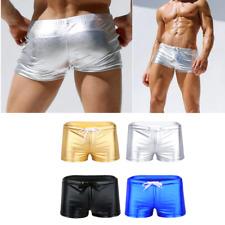 Mens Lingerie Shiny Leather Drawstring Lounge Underwear Boxer Shorts Underpants