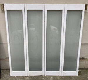 """47 1/2"""" T x 47 1/2"""" W VTG Frosted Glass Panels Wood Interior Window Shutters"""