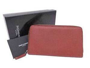 Auth YVES SAINT LAURENT Zip Around Long Wallet Red Brown/Silver - e49759a