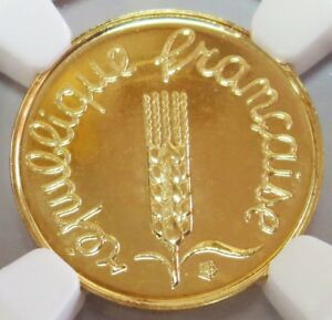 2000 GOLD FRANCE LAST 1 CENTIME COIN NGC MINT STATE 69 (PROOF LIKE)