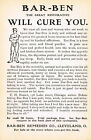 1905 Original Antique BarBen Nerve Tonic Blood Purifier Drug Medicine Print Ad