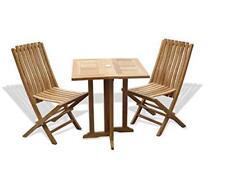 "Windsor's Premium Grade A Teak Barcelona 27"" Sq Dropleaf Table /2 Folding Chairs"