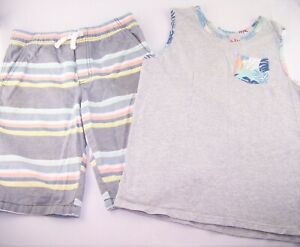 Boys GYMBOREE striped pull on shorts tropical tank top t shirt 14 summer outfit
