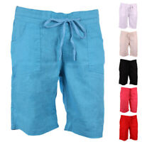 Ladies Linen Shorts Womens Summer Pocket Holiday Stretch Short Elastic Waistband