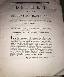 RÉVOLUTION.DOCUMENT SUR LES TAXES COMITÉS RÉVOLUTION . AN SECOND (1794).