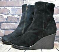 Womens Esprit Black Suede Zip Up Mid Heel Ankle Boots Size UK 4 EUR 37 RRP £49