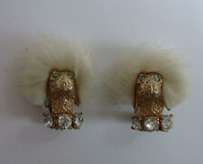 1950s vintage POODLE FUR TRIM DIAMANTE EARRINGS dog costume jewellery art