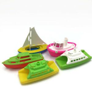 Vintage Set of 5 BATHTUB BOATS Plastic Ships Sailboat Colorful Floating Tub Toy