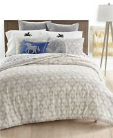 Martha Stewart 3-Piece FULL/QUEEN Comforter Whim Clip Grey T93191