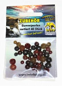 40 kleine Gummiperlen versch. Farben & Größen  Angelzubehör Rubber Beads Behr