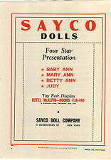 1942 PAPER AD Sayco Dolls Baby Ann Mary Betty Judy Bar-Zim Toys Xylophones