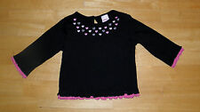 GYMBOREE TRES CHIC BLACK & PINK HEART  TOP GIRLS 12 18 MO