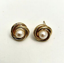 Vintage 10K Yellow Gold Love Knot Pearl  Earrings